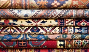 Wool rugs stacked up